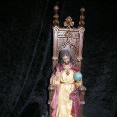 Arte: IMAGEN DEL SAGRADO CORAZON DE JESUS CON TRONO DE MADERA,MD 50 CM. Lote 110222031