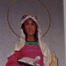 Art: SANTA INES DE 30 CM PASTA DE MADERA Y OJOS DE CRISTAL. Lote 110924919