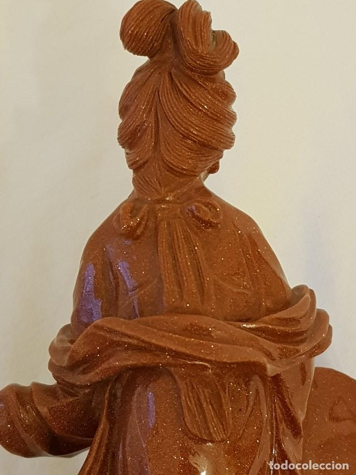 Arte: Dama oriental de aventurina. Tallada a mano y de una sola pieza. Siglo XX - Foto 16 - 112381311