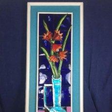 Arte: CUADRO JARRON FLORES BODEGON ESMALTE RELIEVE COBRE ESMALTADO FIRMA LUSCHNER AÑOS 60 70 94X37X4,5C. Lote 115686083