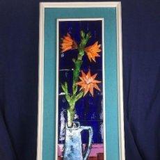 Arte: CUADRO JARRON FLORES BODEGON ESMALTE RELIEVE COBRE ESMALTADO FIRMA LUSCHNER AÑOS 60 70 94X37X4,5C. Lote 115686879
