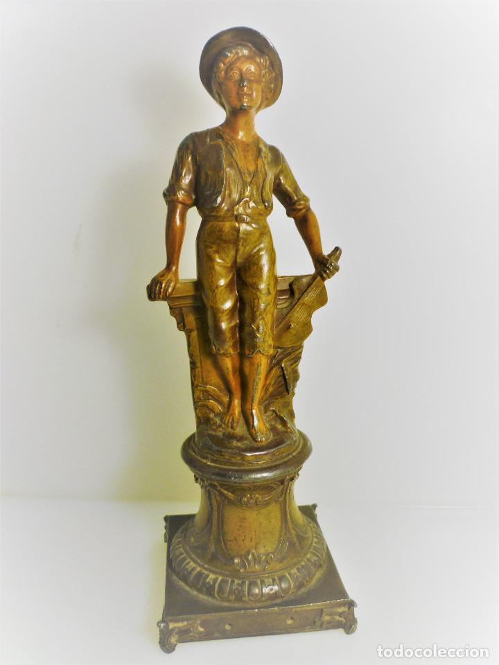 ESCULTURA ART NOUVEAU DE CALAMINA DEL FRANCES ALPHONSE RUCHO (HACIA 1920) FIRMADA (Arte - Escultura - Otros Materiales)