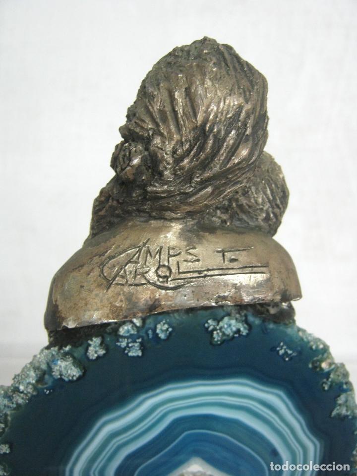 Arte: Tony Carol Camps . Escultura sobre bella ágata azul firmada . Maternidad . - Foto 2 - 117772075