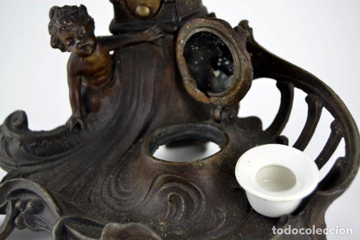 Arte: Preciosa Antigua Figura de Mujer / Hada en Calamina con Tintero y Termometro / 36cm de altura - Foto 7 - 117855543