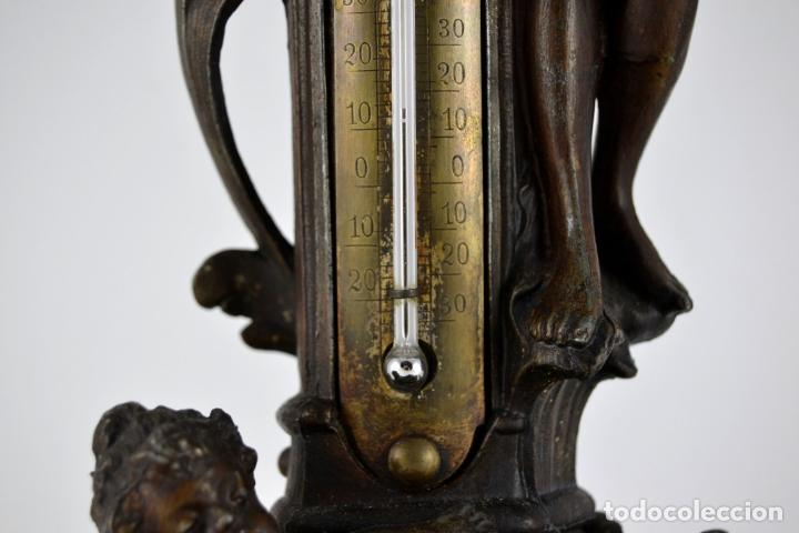 Arte: Preciosa Antigua Figura de Mujer / Hada en Calamina con Tintero y Termometro / 36cm de altura - Foto 9 - 117855543
