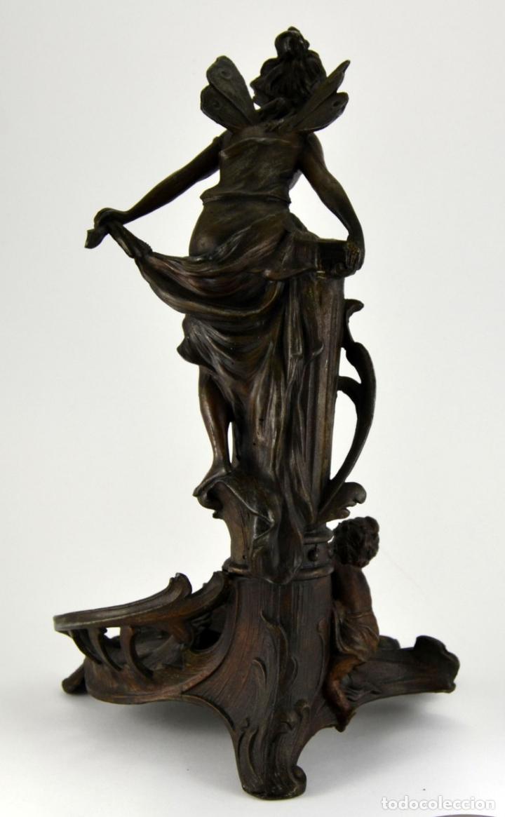 Arte: Preciosa Antigua Figura de Mujer / Hada en Calamina con Tintero y Termometro / 36cm de altura - Foto 10 - 117855543