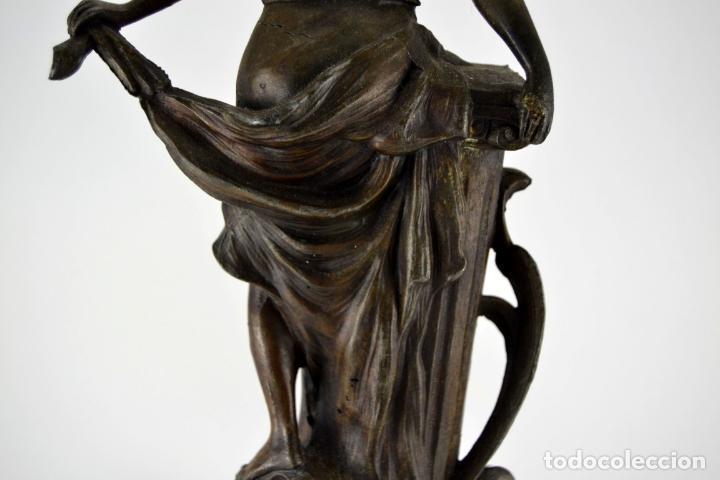 Arte: Preciosa Antigua Figura de Mujer / Hada en Calamina con Tintero y Termometro / 36cm de altura - Foto 11 - 117855543