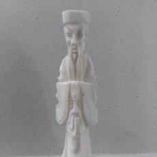Arte: ESCULTURA FIGURA EN ALABASTRO DE ANCIANO SABIO CHINO 40 CM. Lote 120026671