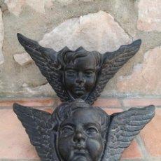 Arte: ESPECTACULAR PAREJA DE CABEZAS DE ANGEL ALADAS - QUERUBINES. Lote 131710066
