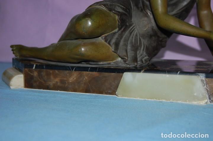 Arte: ESCULTURA ART DECO DE 1920 DAMA CON CIERVO - Foto 7 - 133030462