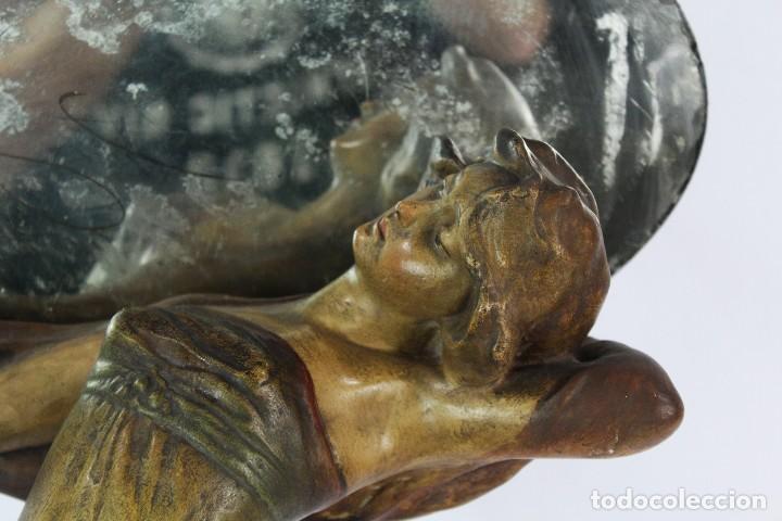Arte: Ninfa Modernista Art Nouveau con espejo. Estuco policromado. Principios S XX - 65 cms - Foto 8 - 135597922