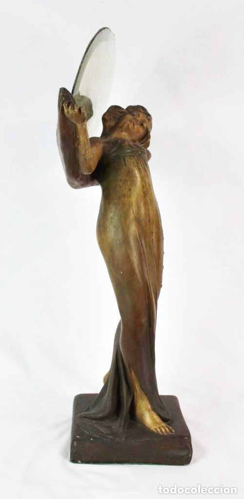 Arte: Ninfa Modernista Art Nouveau con espejo. Estuco policromado. Principios S XX - 65 cms - Foto 3 - 135597922