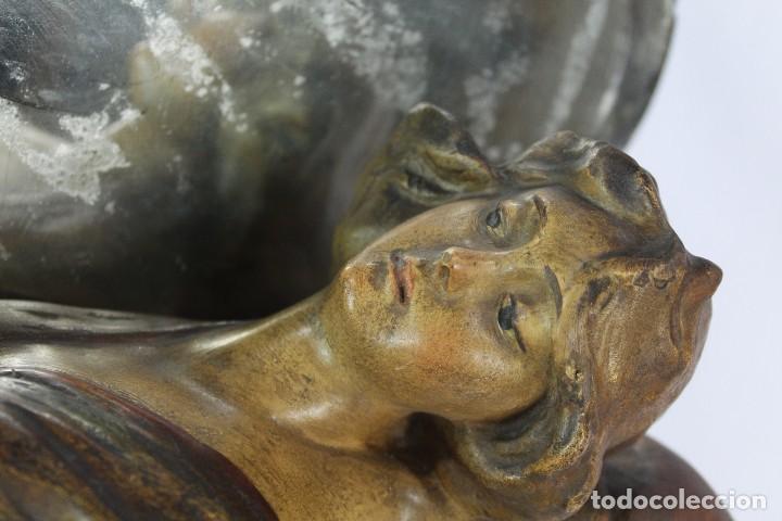 Arte: Ninfa Modernista Art Nouveau con espejo. Estuco policromado. Principios S XX - 65 cms - Foto 5 - 135597922