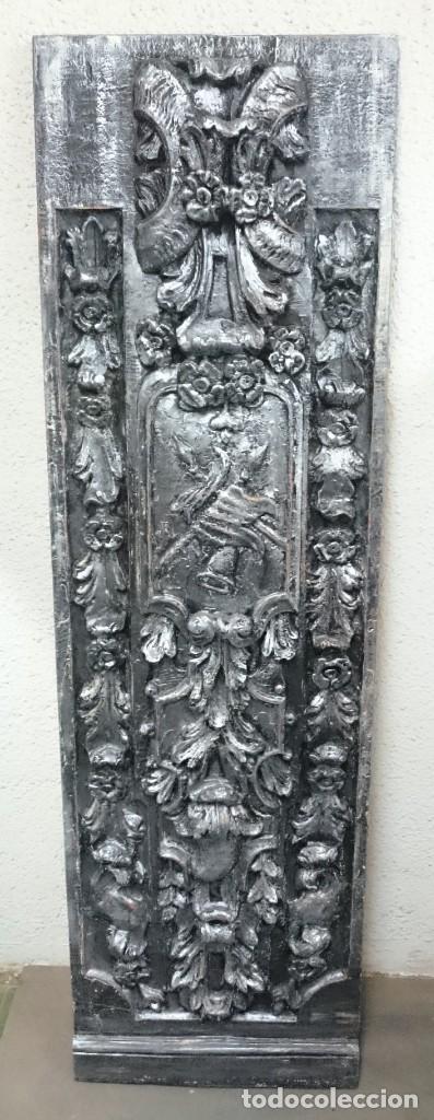 ANTIGUA TABLA EFECTO RETABLO, NEGRO Y PLATA,PRECIOSA (Arte - Escultura - Otros Materiales)