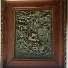 Arte: PLACA EN COBRE S. XIX ESCENA ROMATICA CON MOLDURA EN MADERA. Lote 142754646