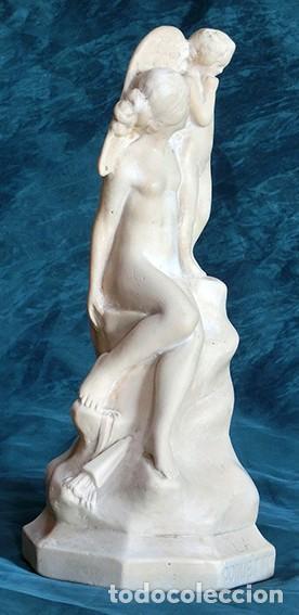 Arte: PRECIOSA ESCULTURA - LA COQUETTE FIRMADA Y FECHADA - MODERNISTA - VENUS Y CUPIDO - 1923 - Foto 5 - 140786450
