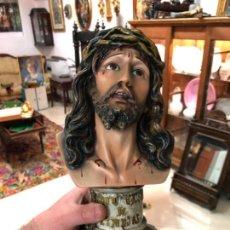 Arte: BUSTO CRISTO DE LIMPIAS CON OJOS DE CRISTAL - MEDIDA TOTAL 30CM - RELIGIOSO - CAPILLA. Lote 143987390