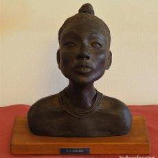 Arte: BUSTO MUJER AFRICANA DE MARÍA AZUCENA ABANSÉS CELAYA. Lote 150794314