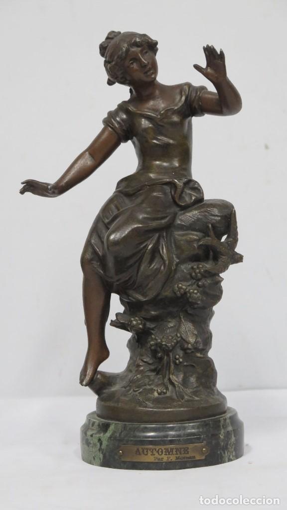 ALEGORIA DEL OTOÑO. CALAMINA PATINADA. L. & F. MOUREAU (Arte - Escultura - Otros Materiales)