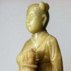 Arte: ANTIGUA ESTATUA CHINA DE JADE DEL SXIX TALLADA A MANO ARTESANALMENTE. Lote 153413573