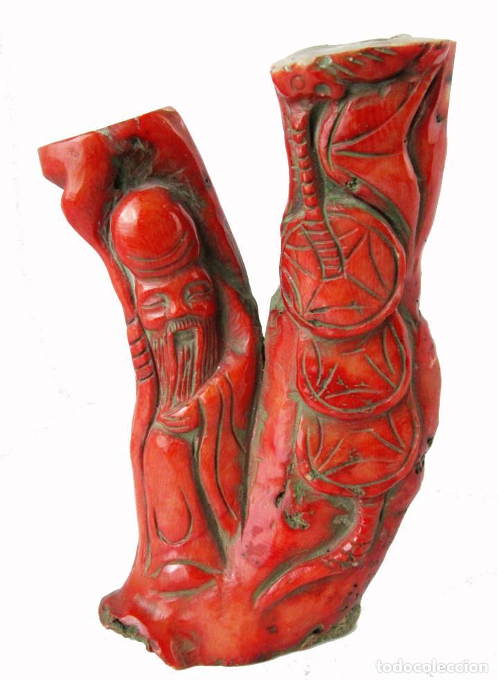 MARAVILLOSA ESCULTURA 310GR ORIENTAL ANTIGUA EN CORAL EN ROJO JAPONES JAPON TALLA CHINA (Arte - Escultura - Otros Materiales)