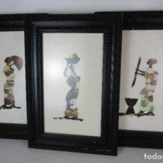 Arte: ARTE AFRICANO LOTE CUADROS CON ALAS DE MARIPOSAS. Lote 157133134