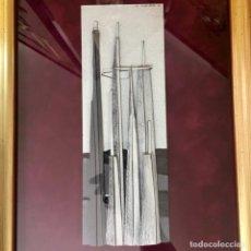 Arte: COLLAGE DE JOSÉ ABAD TENERIFE 1942, 40X56CM MARCO INCLUIDO, ESCULTURA MURAL. Lote 158794878