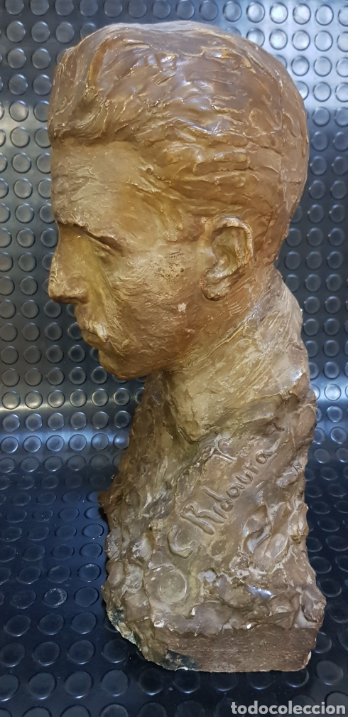 Arte: Busto del Rey Alfonso XIII por el escultor Carlos Ridaura vaciado en escayola patinada. - Foto 4 - 163602188