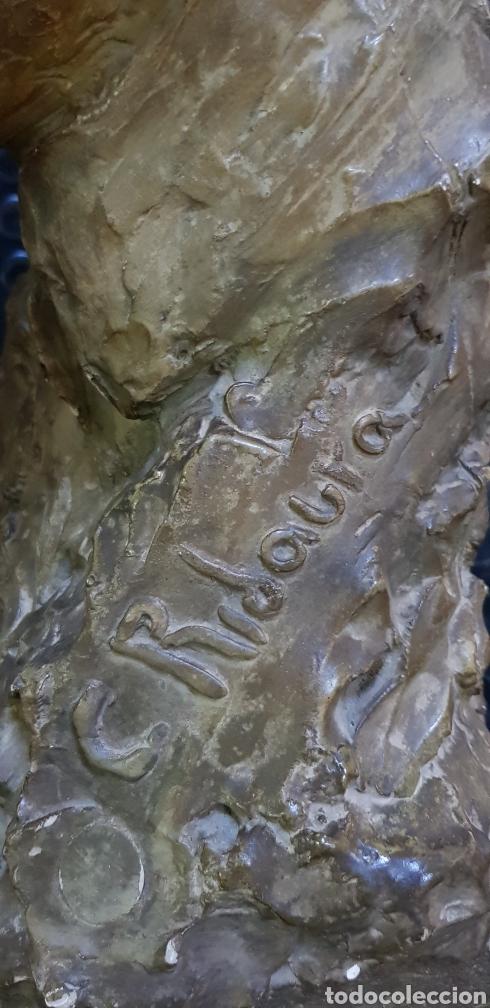Arte: Busto del Rey Alfonso XIII por el escultor Carlos Ridaura vaciado en escayola patinada. - Foto 5 - 163602188