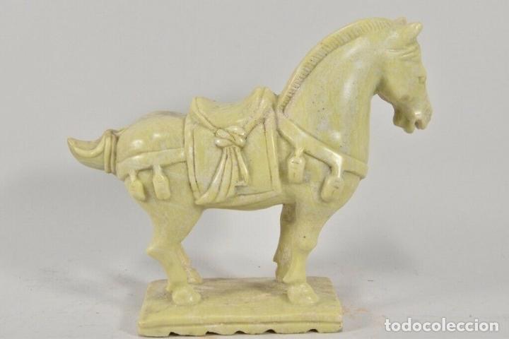 IMPRESIONANTE PRECIOSA ESCULTURA DINASTIA TANG CHINA CABALLO EN JADE NEFRITA 17,5X6,5X22 CM 1550 GM (Arte - Escultura - Otros Materiales)