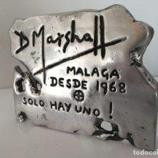 Arte: DAVID MARSHALL CARTEL ESCULTURA DE EXPOSICIÓN EN ALUMINIO, MÁLAGA. Lote 168729040