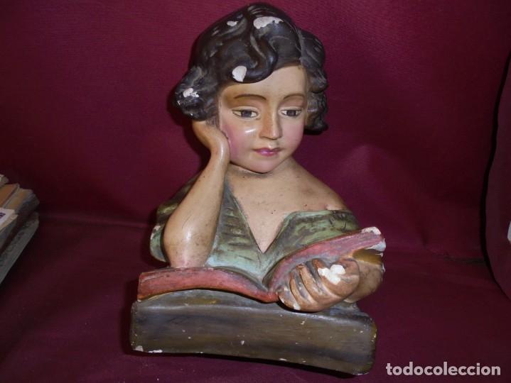 Arte: magnifica antigua niña poligromada en estuco, art deco sobre 1920 - Foto 2 - 172945074
