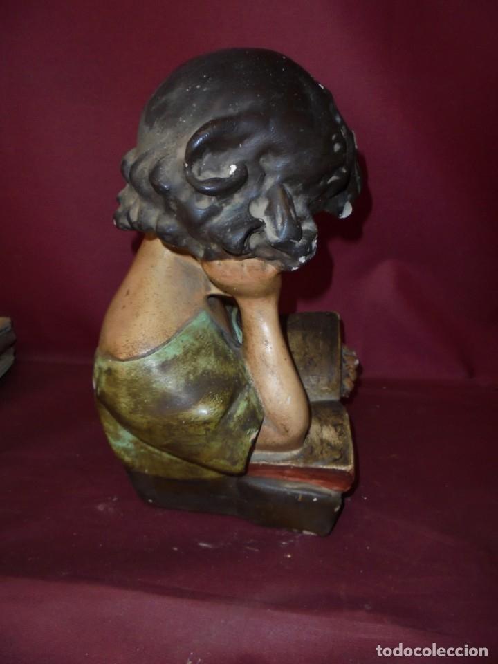 Arte: magnifica antigua niña poligromada en estuco, art deco sobre 1920 - Foto 3 - 172945074