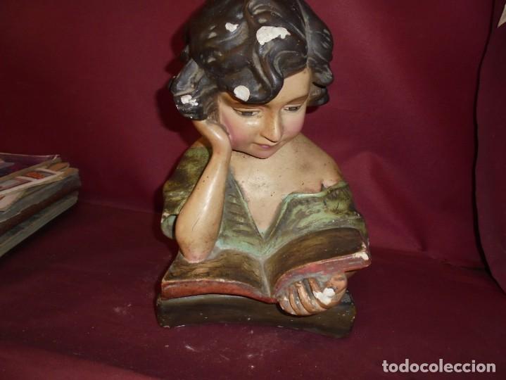Arte: magnifica antigua niña poligromada en estuco, art deco sobre 1920 - Foto 4 - 172945074