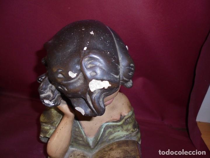 Arte: magnifica antigua niña poligromada en estuco, art deco sobre 1920 - Foto 5 - 172945074