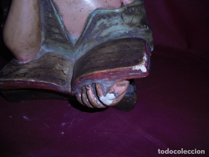 Arte: magnifica antigua niña poligromada en estuco, art deco sobre 1920 - Foto 6 - 172945074
