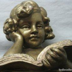 Arte: GRAN ESCULTURA BUSTO ANTIGUO MODERNISTA C.1920 - ESTUCO PATINA BRONCE - LA MUSICA - NUMERADO. Lote 175628089