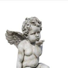 Arte: BELLÍSIMA GRAN ESTATUA ÁNGEL CON PILAR PEDESTAL EN PIEDRA PARA INTERIOR,EXTERIOR O JARDIN. 75X25 CM.. Lote 177460688