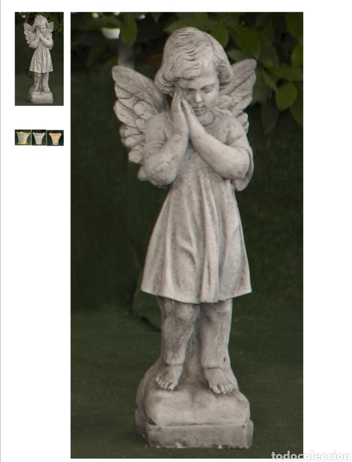 Arte: BELLÍSIMA ESTATUA DE ANGEL PENSANTIVO REALIZADO EN PIEDRA CLASICA 57X13X13cm. - Foto 2 - 177461358