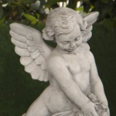 Arte: BELLÍSIMA ESTATUA DE ANGEL EN NUBE PORTANDO FLORES REALIZADO EN PIEDRA ARTIFICIAL 54X20X20CM.. Lote 177462384
