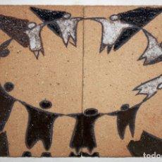 Arte: CARLES FLORENZA I CASANOVA. PAREJA DE AZULEJOS EN GRES REPRESENTANDO UN BAILE DE SARDANAS. Lote 178322443