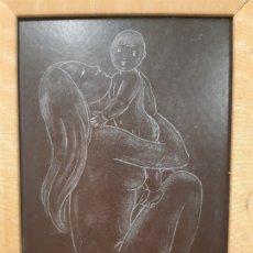 Arte: MUJER DESNUDA Y NIÑO. 13 X 20. MADERA CON MARCO. FRANCESC GASSO. UNA OBRA DE ARTE EN TU CASA. Lote 179519526