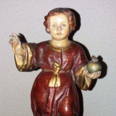 Arte: ESCULTURA NIÑO JESUS, SIGLO XVIII POLICROMIA Y ORO. Lote 179523871