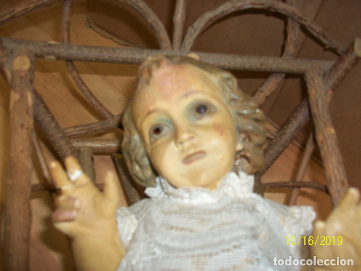 Arte: ANTIGUA ESTATUA DEL NIÑO JESUS CON PESEBRE-OJOS DE CRISTAL - Foto 2 - 179549227