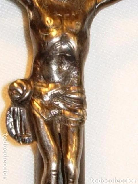 Arte: Escultura Cristo en Cruz, siglo XVIII plata de ley y madera - Foto 4 - 180038103