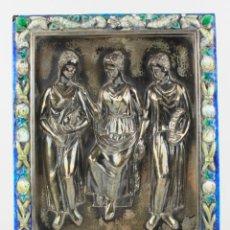 Arte: JOAQUIM SUNYER (1874 - 1956), RELIEVE DE PLATA ESMALTADO, ALEGORÍAS, FIRMADO. VER FOTOS. 26X21CM. Lote 183367327