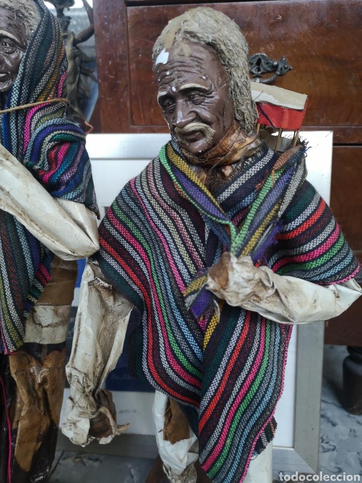 Arte: Pareja de figuras artesanales en papel mache. Xalisco, México. 50cm - Foto 2 - 184273905