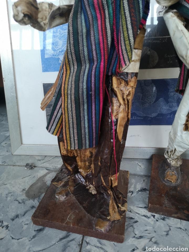 Arte: Pareja de figuras artesanales en papel mache. Xalisco, México. 50cm - Foto 4 - 184273905