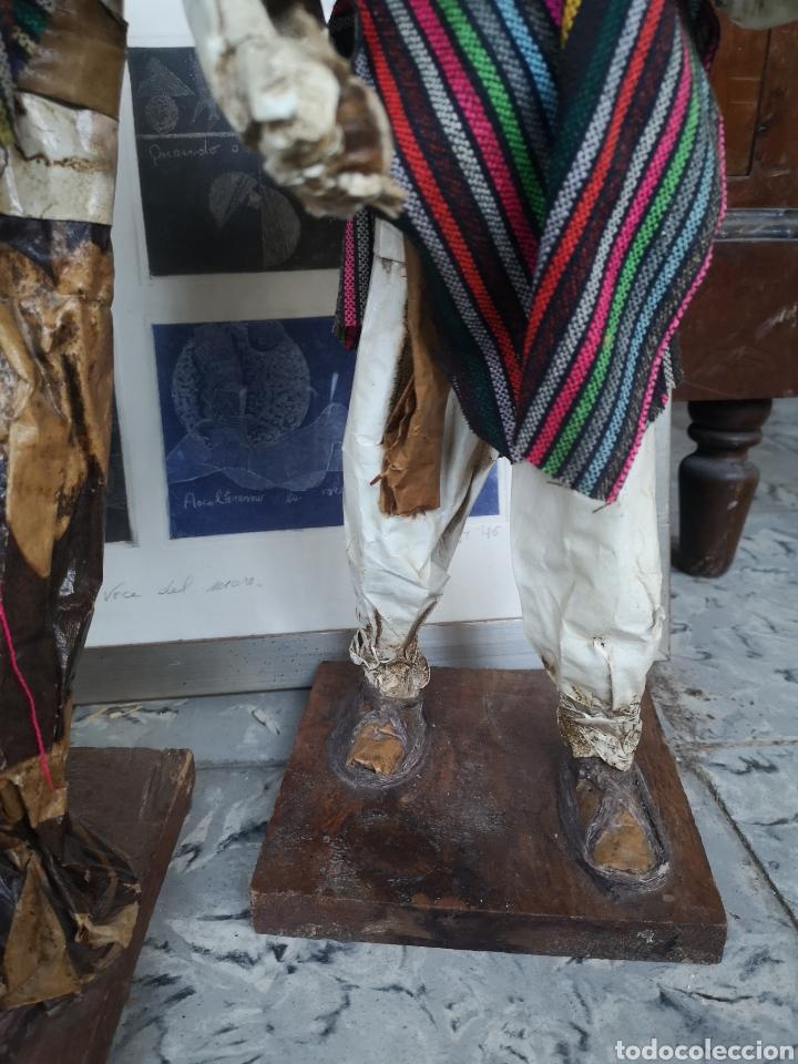 Arte: Pareja de figuras artesanales en papel mache. Xalisco, México. 50cm - Foto 5 - 184273905