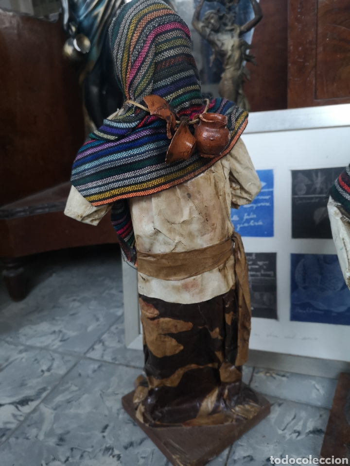 Arte: Pareja de figuras artesanales en papel mache. Xalisco, México. 50cm - Foto 6 - 184273905